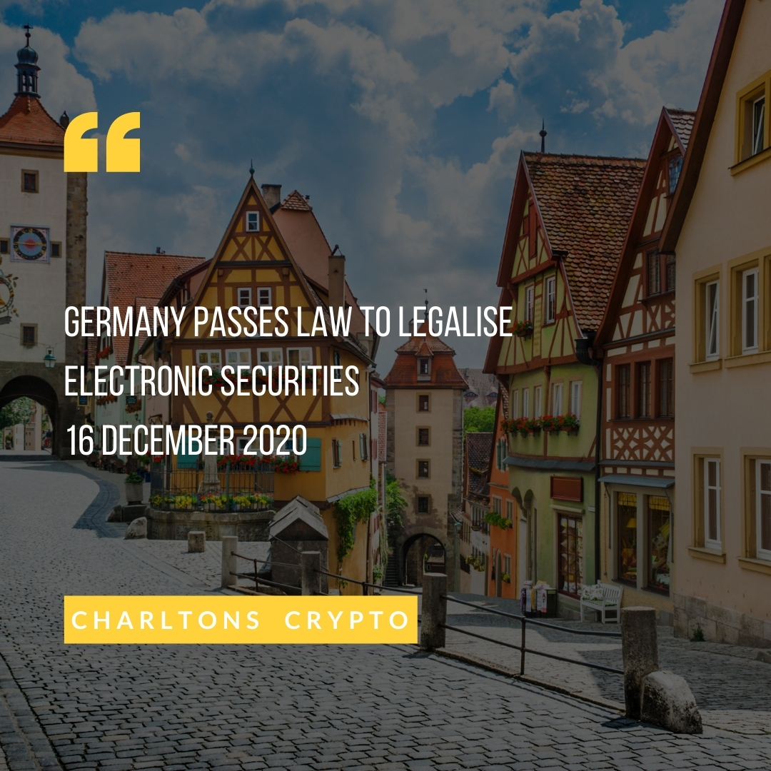Germany passes law to legalise electronic securities 16 December 2020